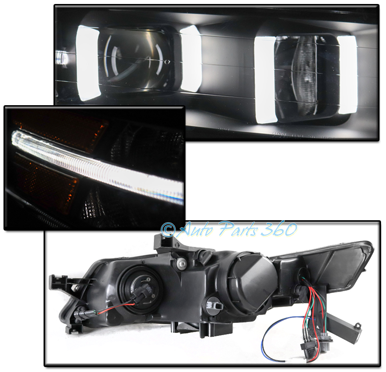 FOR 04-08 ACURA TL LED PROJECTOR BLACK HEADLIGHTS LAMPS W