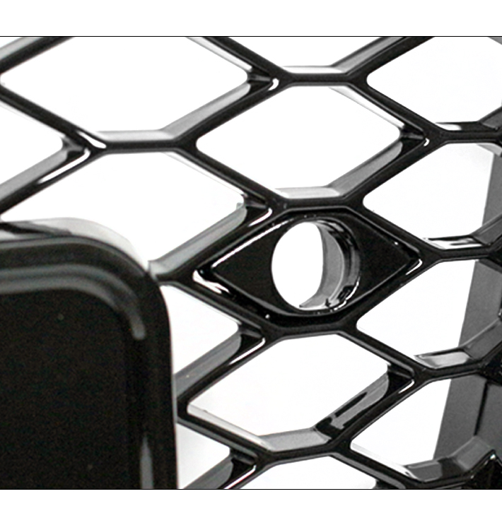 HONEYCOMB MESH RS4 STYLE HEX UPPER GRILLE GLOSS BLACK FOR