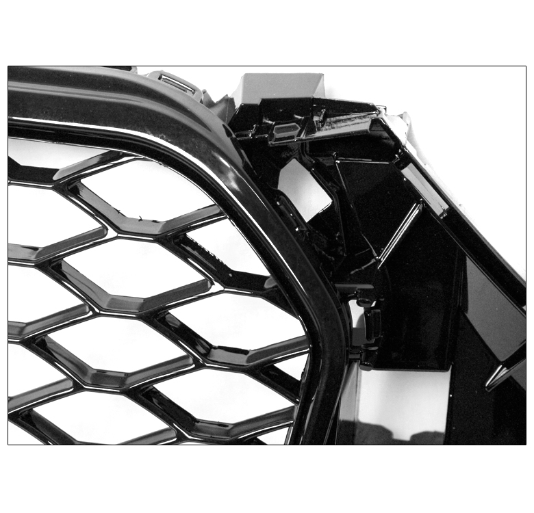FRONT MESH RS4 STYLE BUMPER HOOD HEX GRILLE BLACK FOR 2013