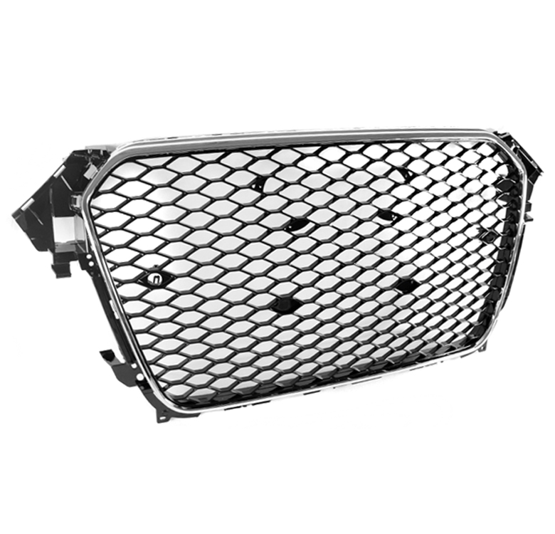 FRONT HONEYCOMB MESH RS4 HEX GRILLE BLACK/CHROME TRIM FOR